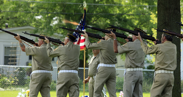 21-gun salute at Memorial Park Cemetery in Lawrence