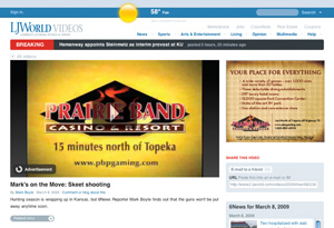 Screenshot of LJWorld.com's video player with preroll