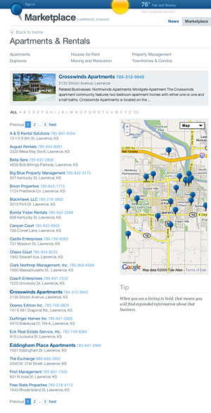 Marketplace apartment rentals screenshot